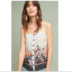Anthropologie Maeve silk floral polka dotted tank